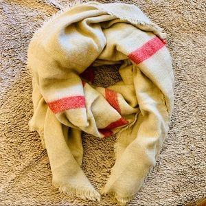 Zara Cream Red Blanket Scarf